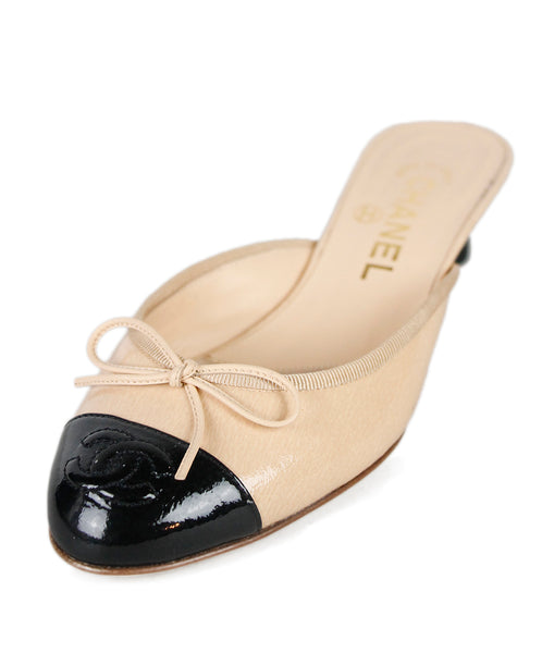 Chanel  Beige Black Patent Leather Shoes Sz 36.5