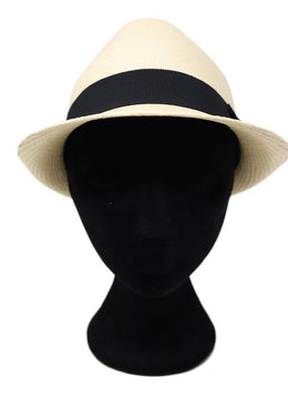 Chanel Neutral Beige Straw Black Ribbon Trim Hat 1