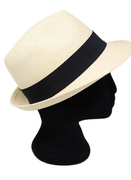 Chanel Neutral Beige Straw Black Ribbon Trim Hat 2