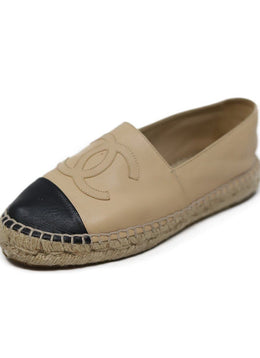 Chanel Black Tan Leather Espadrilles Shoes