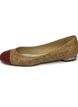 Chanel Neutral Cork Red Patent Leather Toe Flats