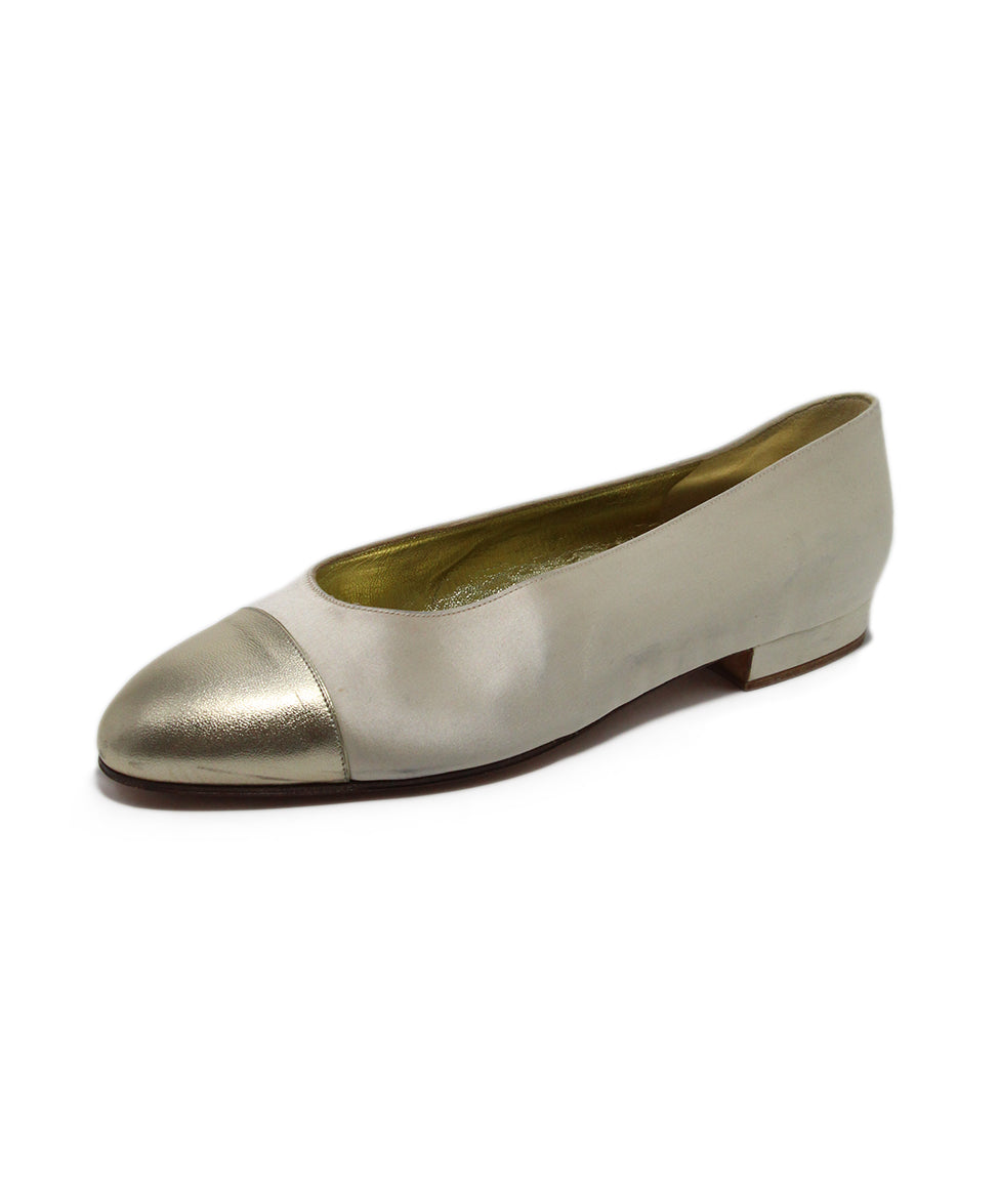 Chanel Neutral Cream silk Gold Leather Flats 1