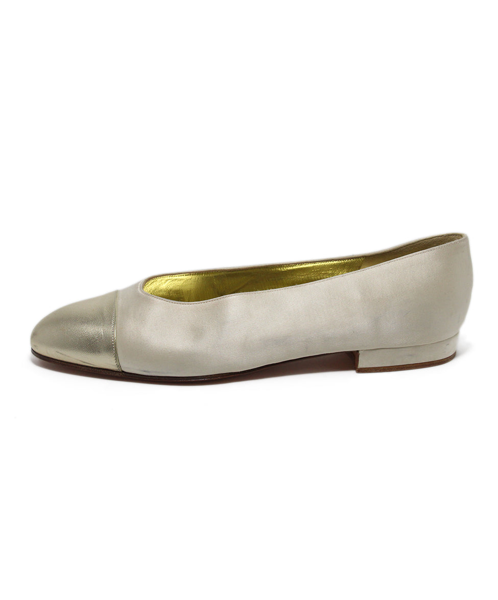 Chanel Neutral Cream silk Gold Leather Flats 2