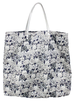 Chanel Neutral Grey Cat Emoji Print Nylon Tote 2