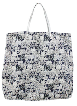Chanel Neutral Grey Cat Emoji Print Nylon Tote 1