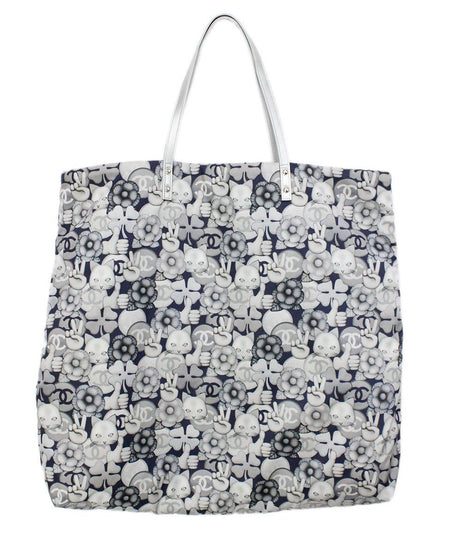 Michael Kors Blue White Cloud-like Print Leather Shoulderbag
