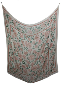 Chanel Neutral Pink Floral Print Silk Shawl Scarf 1