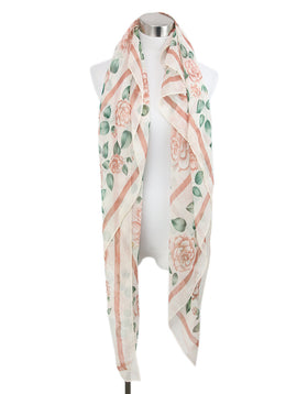 Chanel Neutral Pink Floral Print Silk Shawl Scarf 2