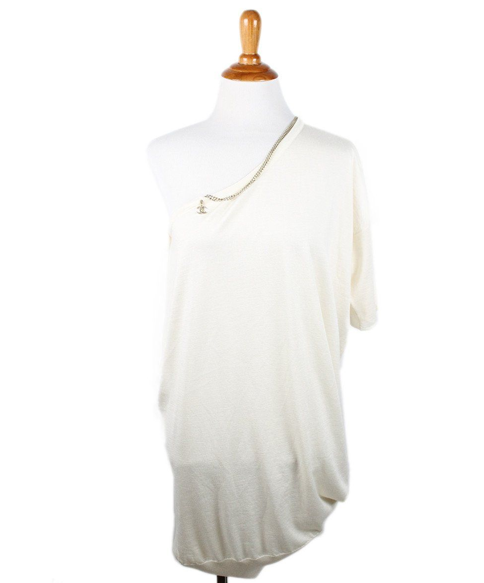 Chanel Size 4 Neutral Ivory Cashmere Silk Gold Trim Sweater - Michael's Consignment NYC  - 1