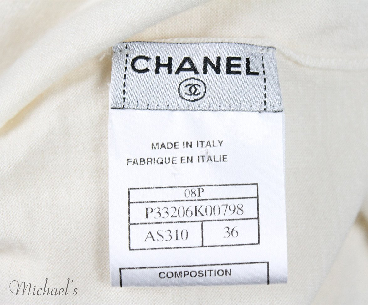 Chanel Size 4 Neutral Ivory Cashmere Silk Gold Trim Sweater - Michael's Consignment NYC  - 5
