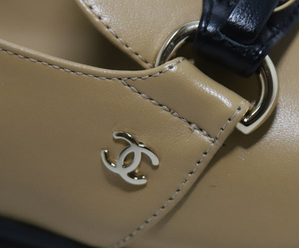 Chanel Tan Leather Black Shoes 6