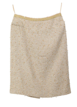 Chanel Neutral Tan White Wool Silk Sequins Skirt 1