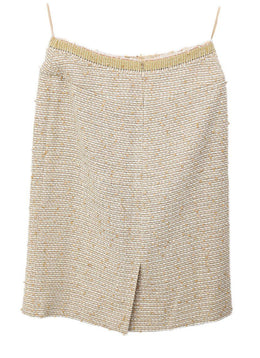 Chanel Neutral Tan White Wool Silk Sequins Skirt 2