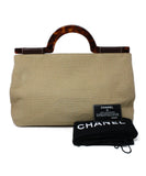 Chanel Neutral Woven Canvas Brown Lucite Handle Purse 6