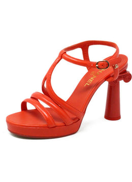 Chanel Orange Patent Leather Collumn T-Strap Heels