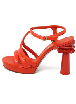 Chanel Orange Patent Leather Collumn T-Strap Heels 1