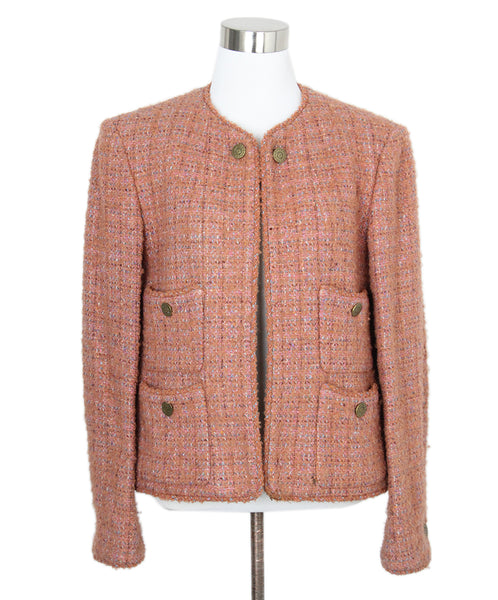 Chanel Orange Pink Tweed Jacket 1