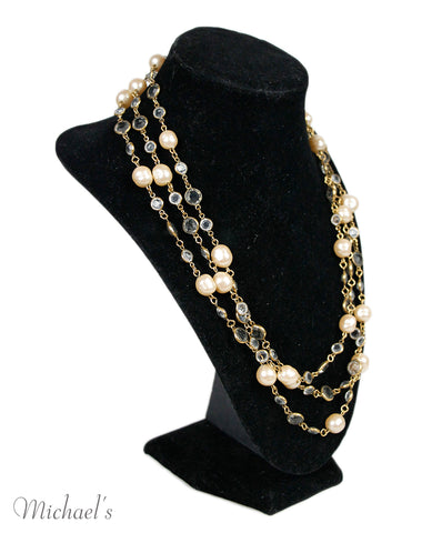 Chanel Pearl Gold Beaded Necklace