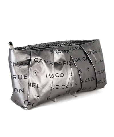 Chanel Pewter Leather Black Print Clutch 1