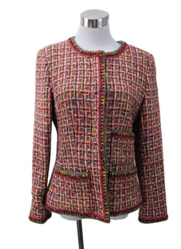 Chanel Pink Brown Wool Jacket sz 8
