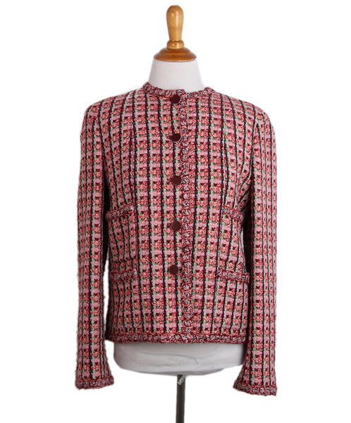 Chanel Pink Burgundy Green Black Tweed Jacket 1