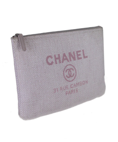 Chanel Pink Canvas Clutch 1