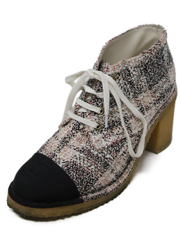 Chanel Pink Ivory Black Tweed Booties 1
