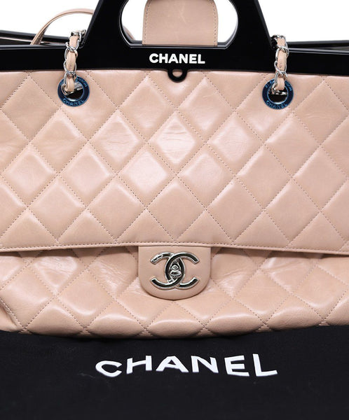 Chanel Pale Pink Quilted Leather Handbag