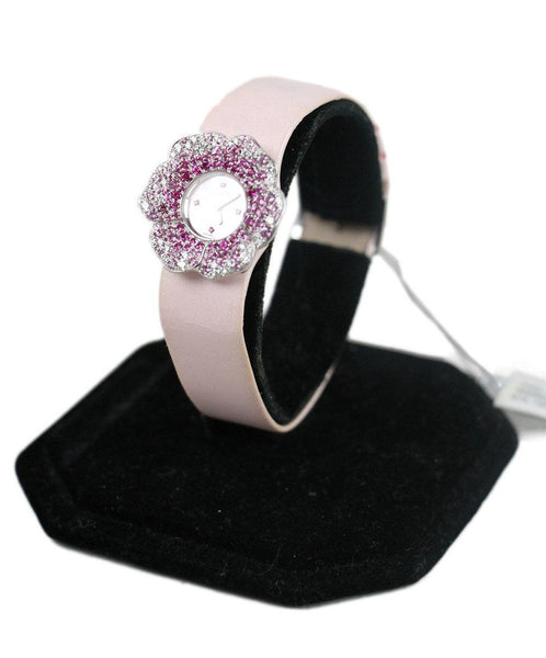 Chanel Pink Leather Sapphire Flower Watch