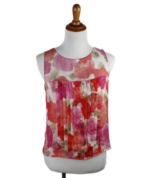 Chanel Red Pink Print Silk Top Sz 6