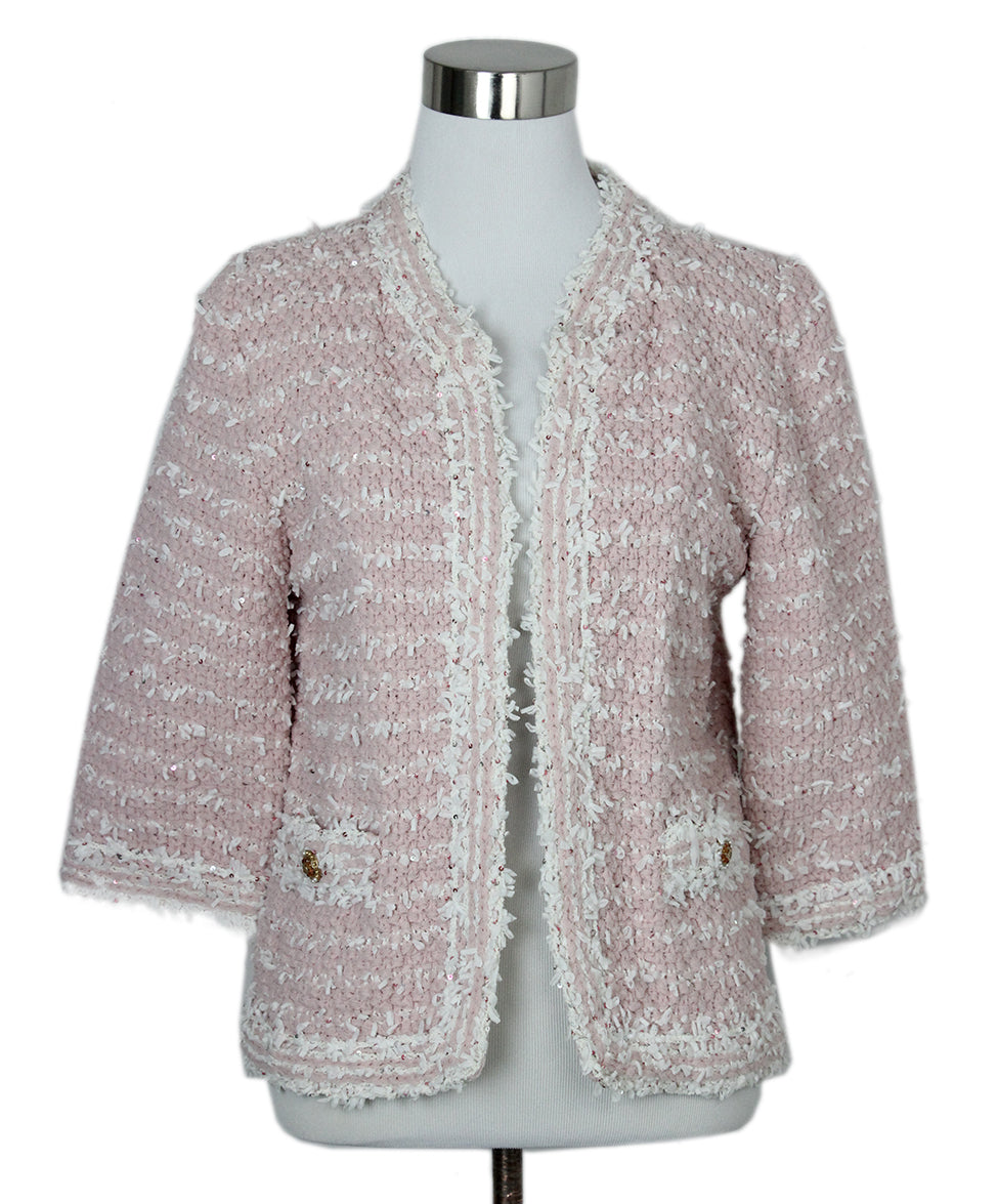 Chanel Pink White Sequins Jacket 1