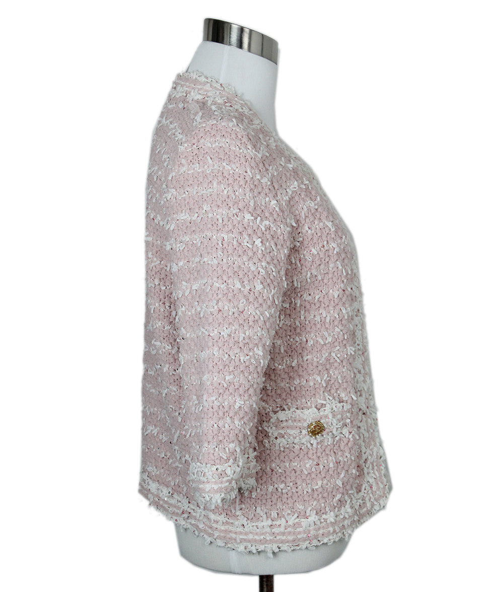 Chanel Pink White Sequins Jacket 2