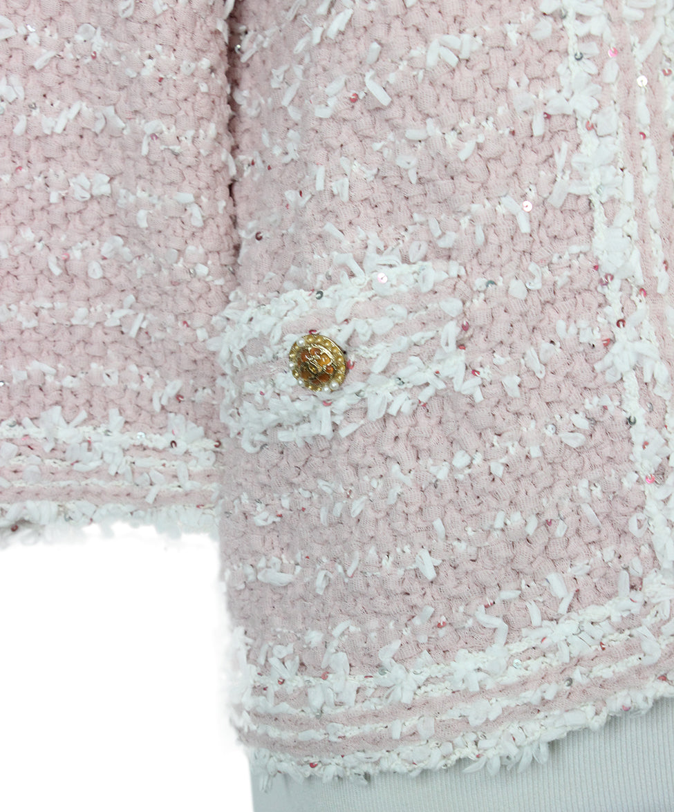 Chanel Pink White Sequins Jacket 5