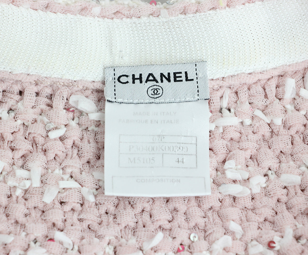 Chanel Pink White Sequins Jacket 4