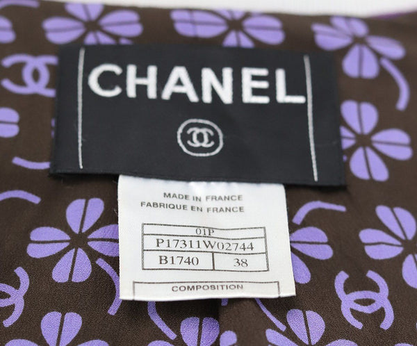 Chanel Purple Ivory Wool Silk Jacket 4