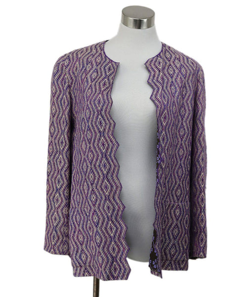 Chanel Purple Ivory Wool Silk Jacket 1