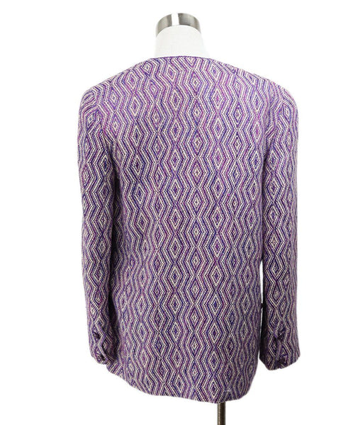 Chanel Purple Ivory Wool Silk Jacket 3