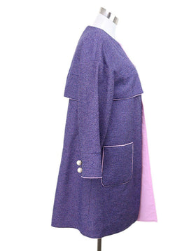 Chanel Blue Pink Polyester Cotton Coat 1