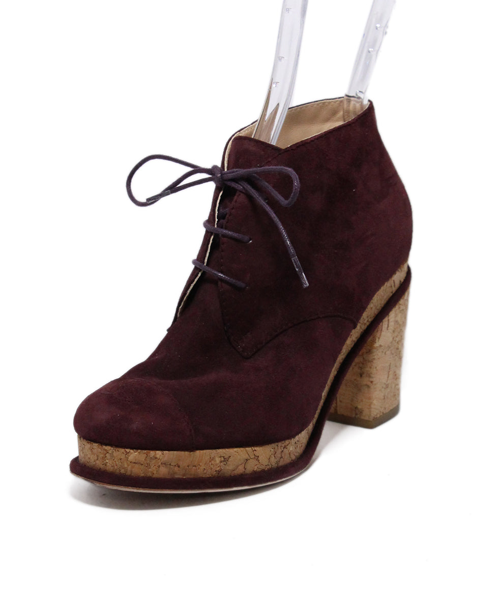 Chanel Purple Plum Suede Cork Booties 1