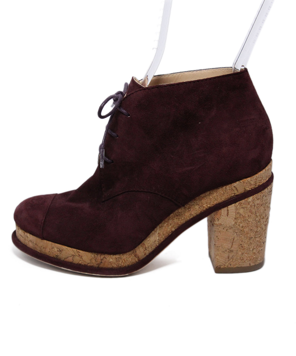 Chanel Purple Plum Suede Cork Booties 2