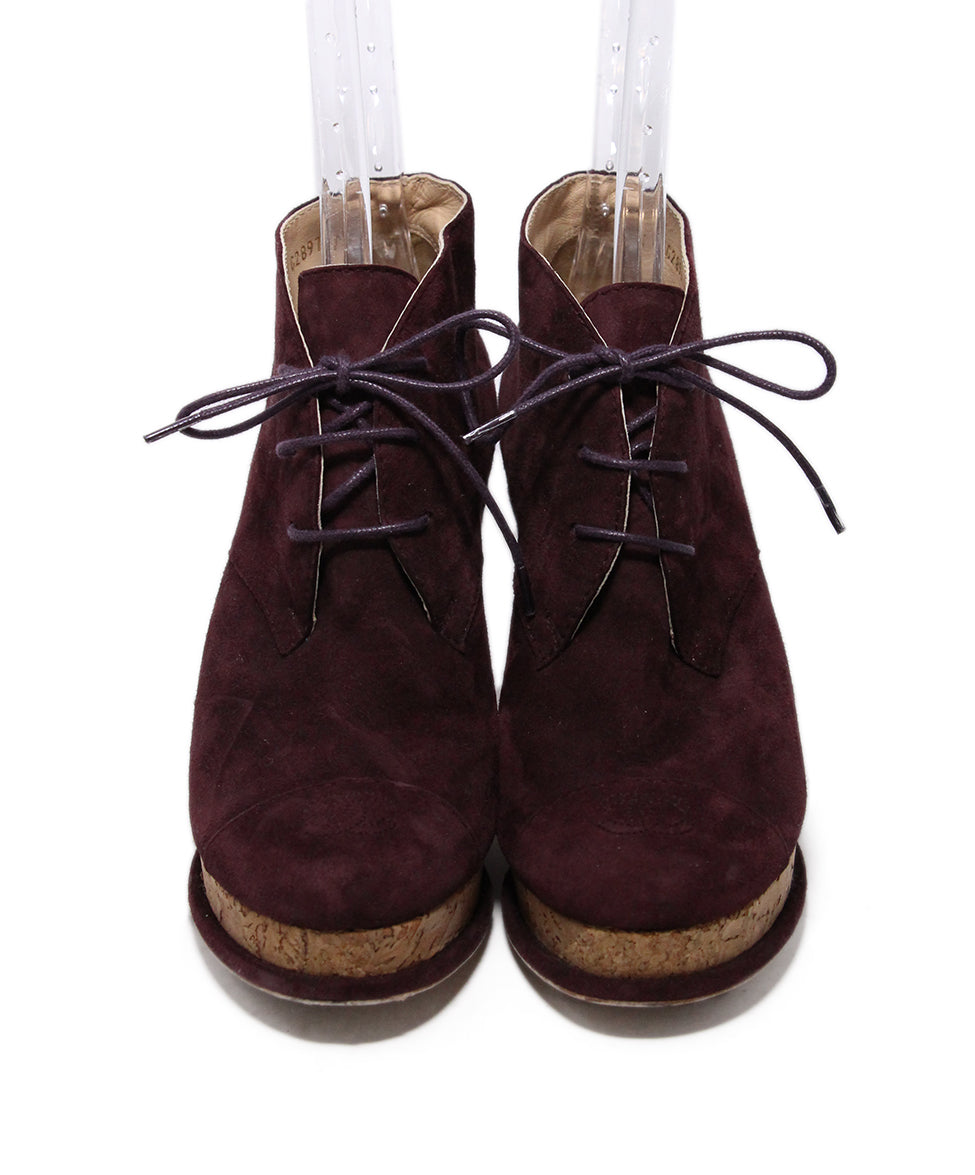Chanel Purple Plum Suede Cork Booties 4