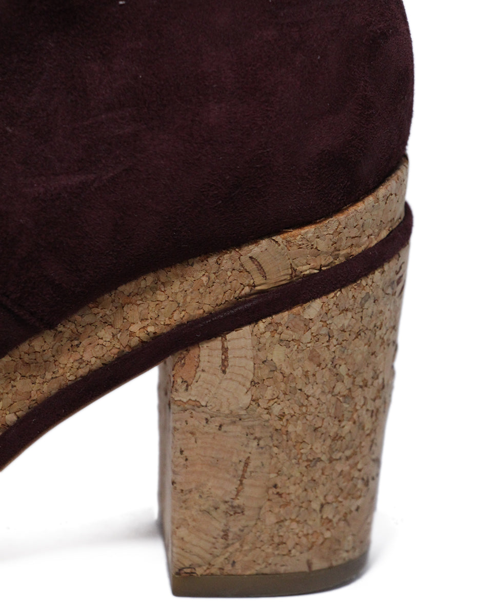 Chanel Purple Plum Suede Cork Booties 8