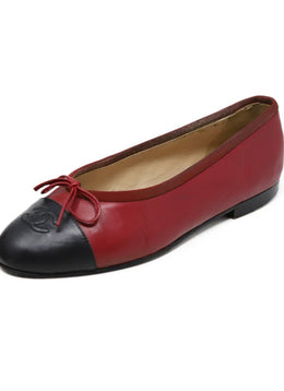 Chanel Red Black Lambskin Leather Flats