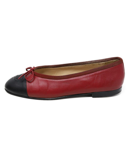 Chanel Red Black Lambskin Leather Flats 1