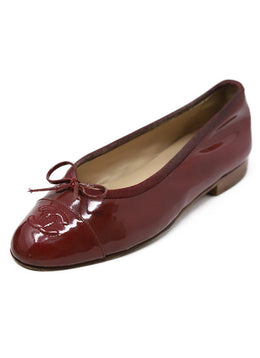 Chanel Burgundy Patent Leather Flats
