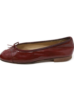 Chanel Burgundy Patent Leather Flats 1