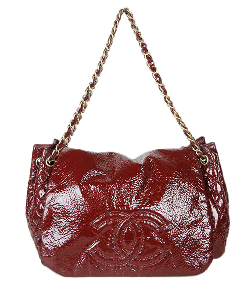 Chanel Red Burgundy Patent Leather Handbag
