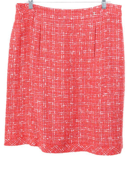 Chanel Red Coral Pink Cotton Rayon Skirt 1