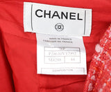 Chanel Red Coral Pink Cotton Rayon Skirt 3
