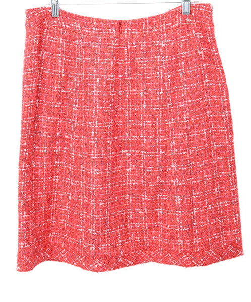 Chanel Red Coral Pink Cotton Rayon Skirt 2